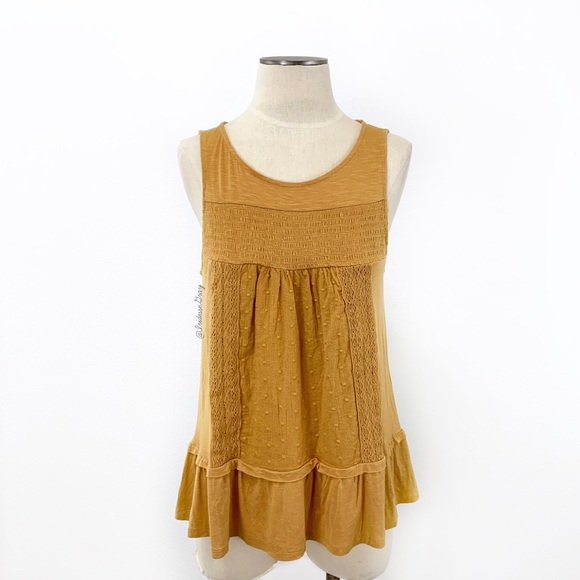 99af0f6e282 Knox Rose Tops - Knox Rose- Dark Mustard Embroidered Lace Tank S